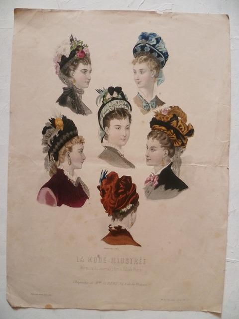 仏蘭西アンティーク亭***19世紀 パリモード彩色版画 帽子                                        [13JU30/AH001]
